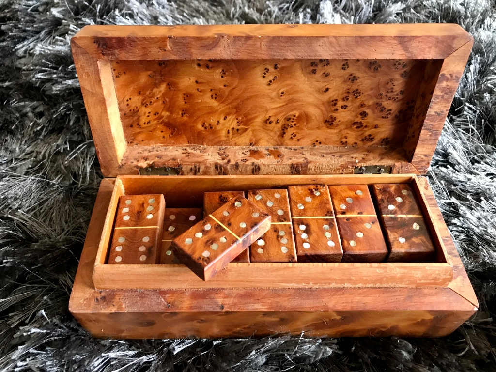Domino Set, Marrakech, Morocco. After thirty years, the box and its dominos still retains the beautiful scent of cedar.